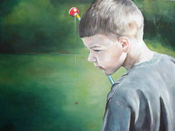 Boy Poster featuring the painting Little Fisherman by Charlotte Yealey
