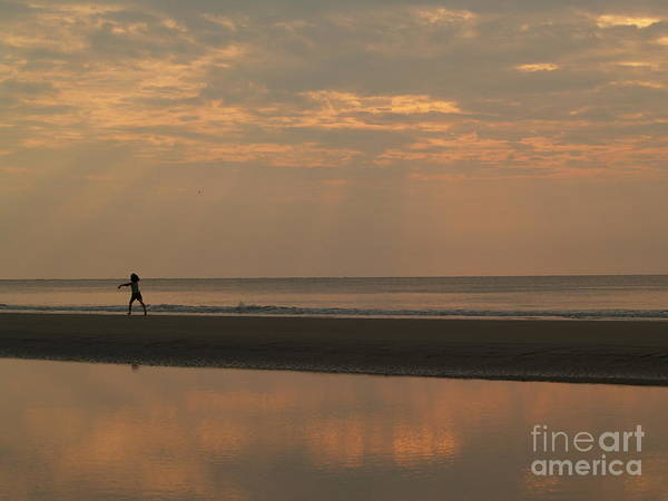 Sunrise Poster featuring the photograph Little Girl In Hunting Island Sunrise by Anna Lisa Yoder
