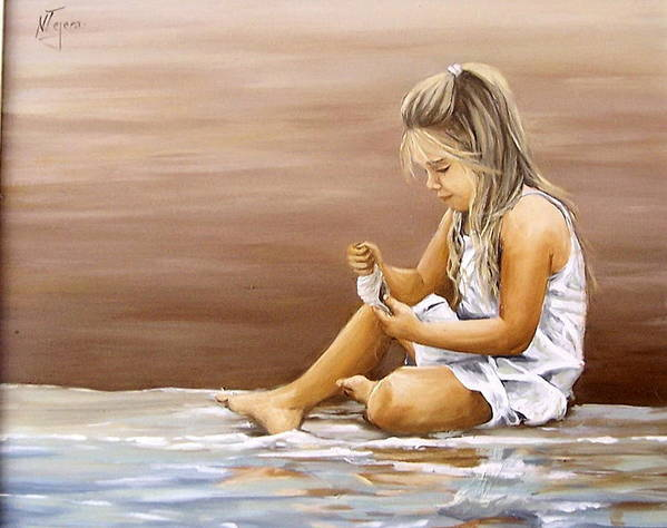 Children Girl Sea Shell Seascape Water Portrait Figurative Poster featuring the painting Little Girl With Sea Shell by Natalia Tejera