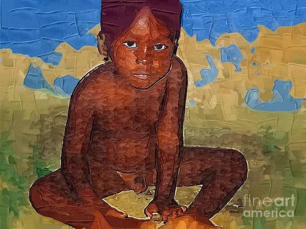 Little Boy Poster featuring the painting Little One by Deborah Selib-Haig DMacq