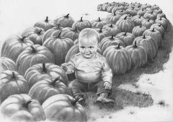 Charity Poster featuring the drawing Little Pumpkin by Murphy Elliott
