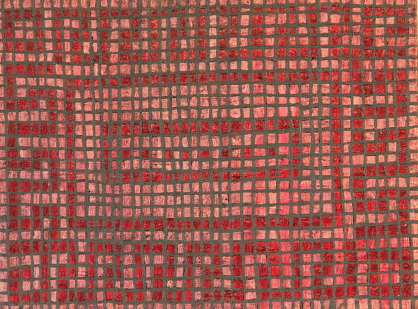 Red Poster featuring the painting Little Red Tiles by Tracy Fetter
