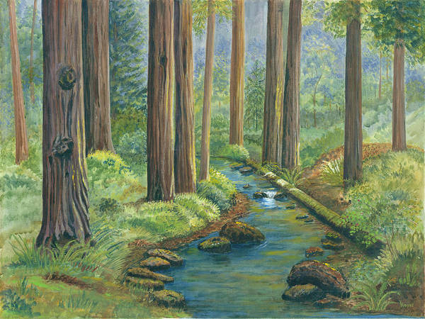 Woods Poster featuring the painting Little Stream In The Woods by Vidyut Singhal