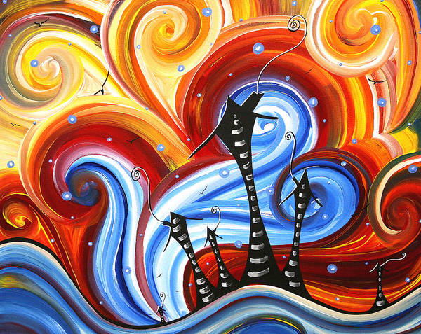 Abstract Poster featuring the painting Little Village By Madart by Megan Duncanson