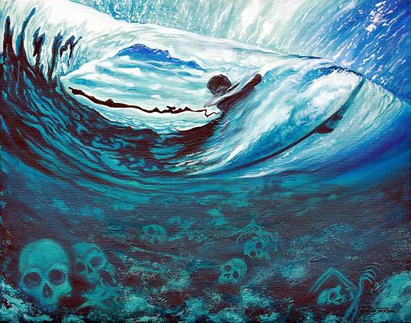 Surf Poster featuring the painting Live Free Or Die by Ronnie Jackson