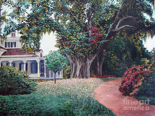 Landscape Poster featuring the painting Live Oak Gardens Jefferson Island La by Todd Blanchard