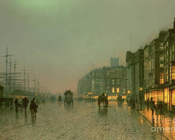 Liverpool Poster featuring the painting Liverpool Docks From Wapping by John Atkinson Grimshaw