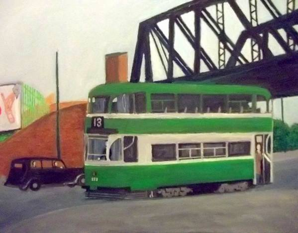 Liverpool Tram Poster featuring the painting Liverpool Tram 1953 by Peter Gartner
