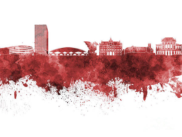 Ljubljana Poster featuring the painting Ljubljana Skyline In Red Watercolor On White Background by Pablo Romero