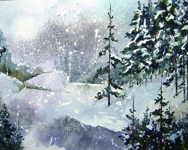 Poster featuring the painting Lket It Snow - Let It Snow by Wilfred McOstrich