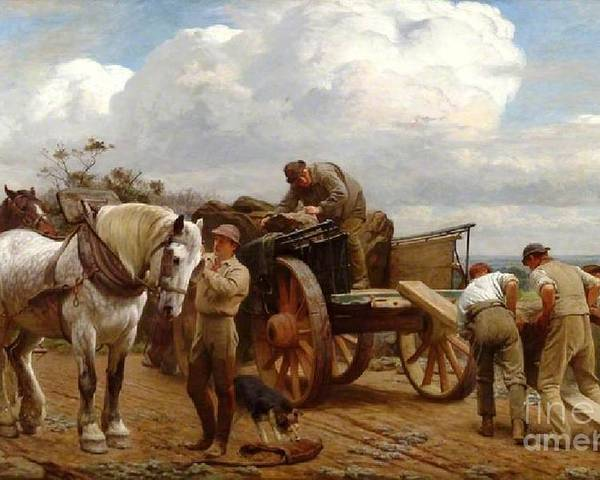 Henry Tanworth Wells - Loading At The Quarry Poster featuring the painting Loading At The Quarry by MotionAge Designs