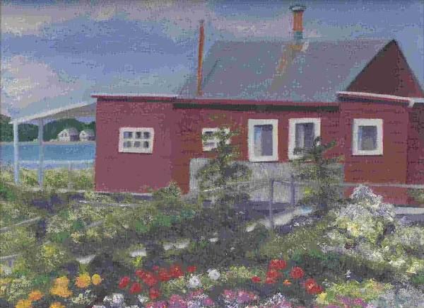 Seascape Poster featuring the painting Lobster Shack At Fenwick by Paula Emery