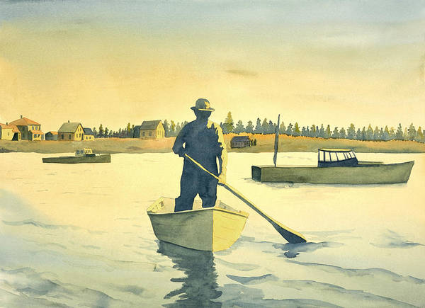 Lobster Poster featuring the painting Lobsterman Homebound by Carolynn Fischel