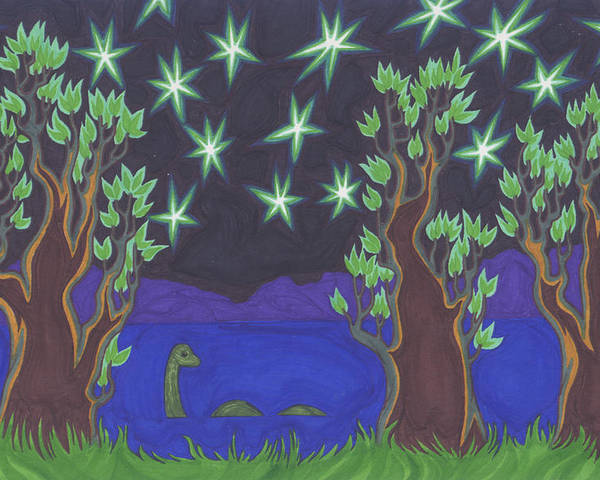 Trees Poster featuring the painting Loch Ness Night by James Davidson