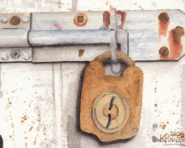 Rust Poster featuring the painting Lock And Latch by Ken Powers