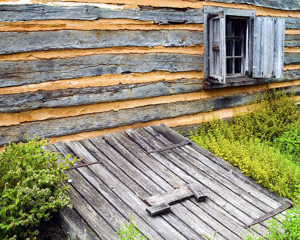 Log Cabin Poster featuring the photograph Log Cabin Storm Cellar Door by Paul W Faust - Impressions of Light