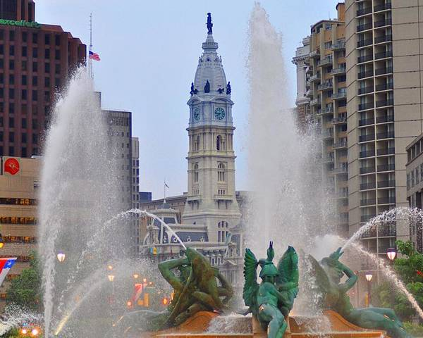 Fountain Poster featuring the photograph Logan Circle Fountain With City Hall In Backround 4 by Bill Cannon