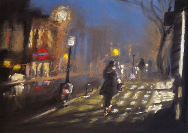 City Poster featuring the pastel London Fog 2 by Paul Mitchell