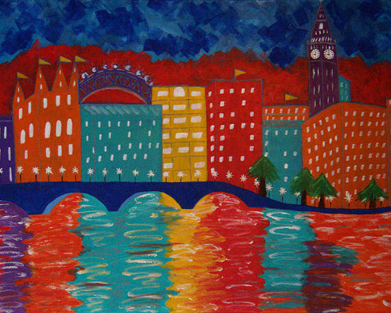 36 Inch Abstract Acrylic Cityscape Poster featuring the painting London by Linda Powell