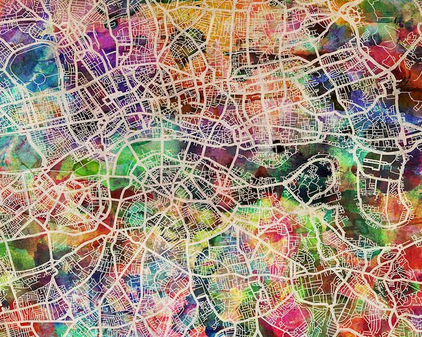 London Poster featuring the digital art London Map Art Watercolor by Michael Tompsett