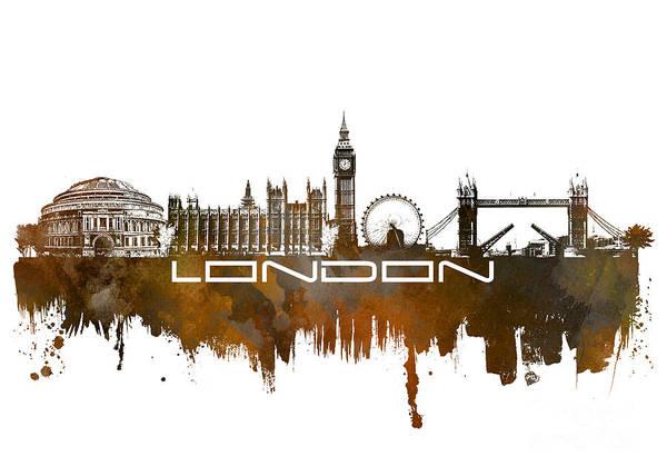Skyline London Poster featuring the digital art London Skyline City Brown by Justyna JBJart