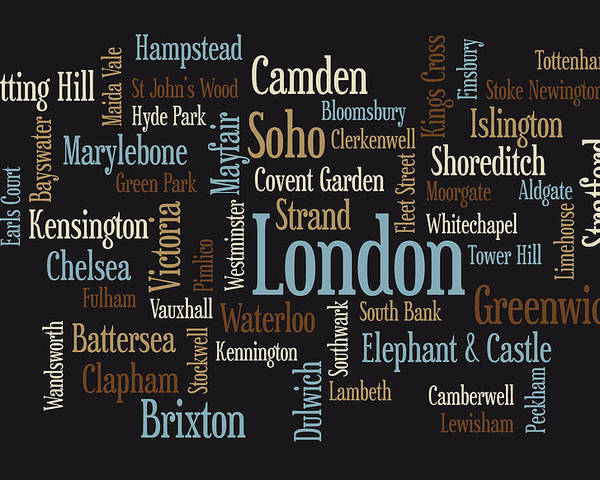 London Map Poster featuring the digital art London Text Map by Michael Tompsett
