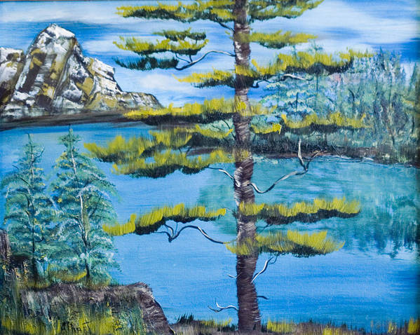 Landscape Poster featuring the painting Lone Pine by Mikki Alhart