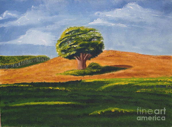 Tree Poster featuring the painting Lone Tree by Mendy Pedersen