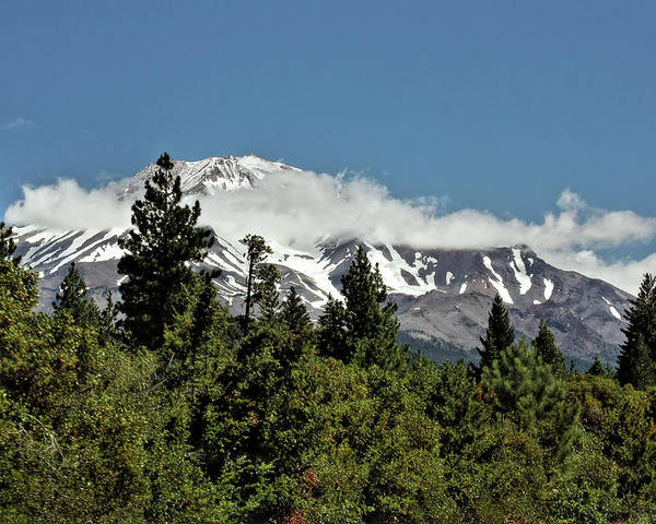Shasta Poster featuring the photograph Lonely As God And White As A Winter Moon - Mount Shasta California by Christine Till
