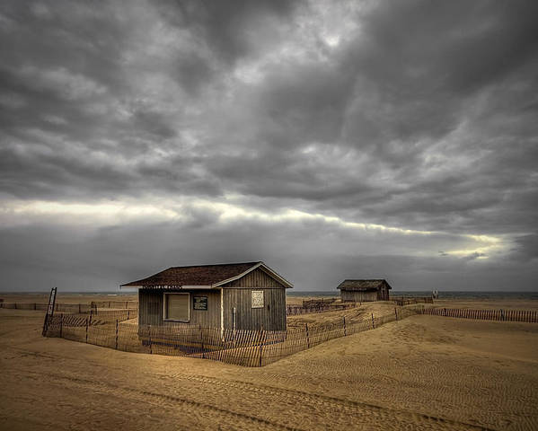 Beach Poster featuring the photograph Lonely Beach Shacks by Evelina Kremsdorf
