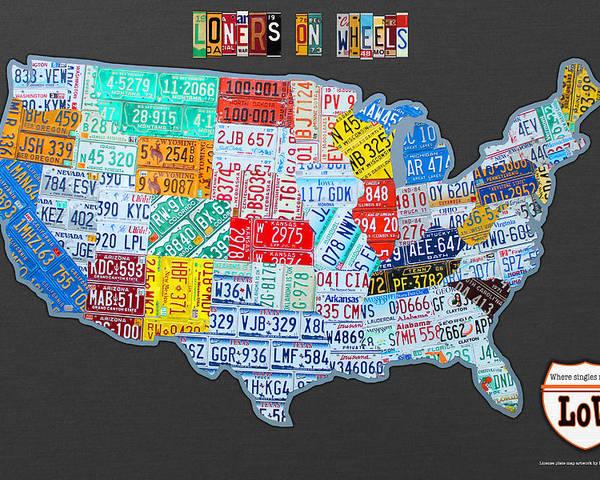 Loners On Wheels Singles Rv Club License Plate Map Usa Road Trip
