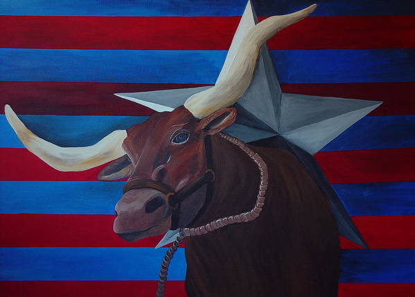Longhorn Poster featuring the painting Lonestar Longhorn by Karen Rester