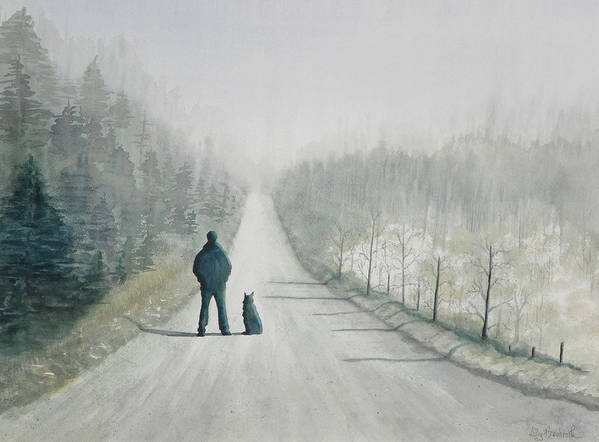 Winter Poster featuring the painting Long Road Home by Ally Benbrook