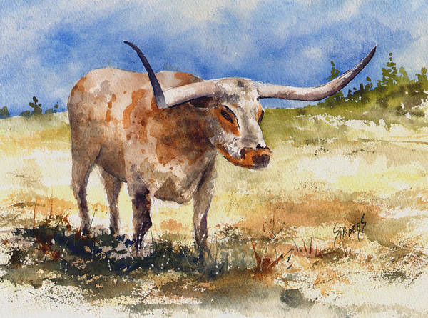 Steer Poster featuring the painting Longhorn by Sam Sidders