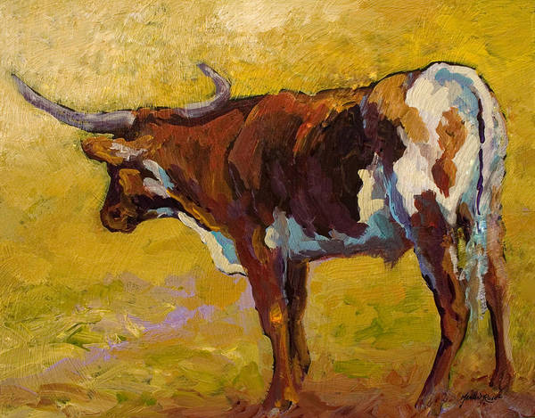 Longhorn Poster featuring the painting Longhorn Study by Marion Rose