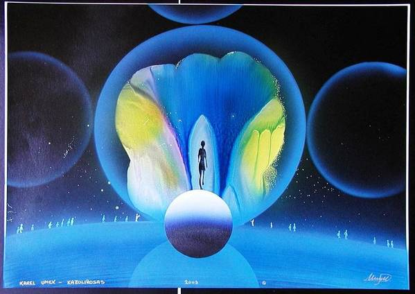The Universe Poster featuring the painting Look Into Deep Space by Karel Umek