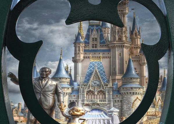 Mickey Mouse Disney Walt World Cinderella Castle Orlando Florida Blue Sky Fine Art Dream Dreamer Magic Poster featuring the photograph Looking Ahead by Ryan Crane