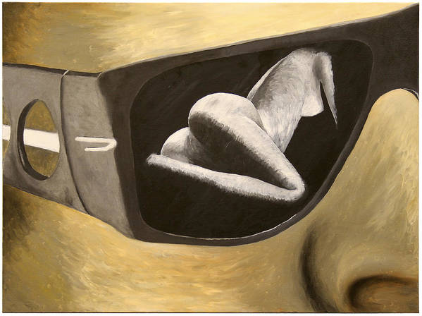 Surreal Oil Painting Poster featuring the painting Looking by Monty Perales
