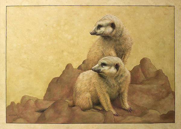 Meerkats Poster featuring the painting Lookouts by James W Johnson