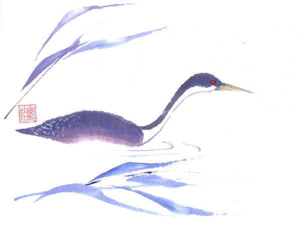 A Lone Loon Swimming Through The Tall Grass. This Is A Contemporary Chinese Ink And Color On Rice Paper Painting With Simple Zen Style Brush Strokes.  Poster featuring the painting Loon by Mui-Joo Wee