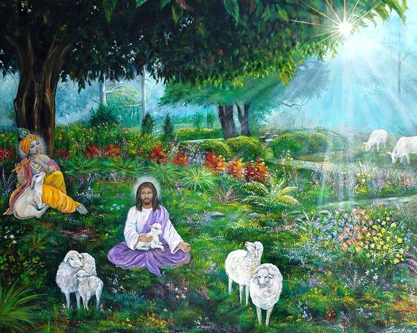 Jesus Poster featuring the painting Lord Jesus And Lord Krishna by Sundara Fawn