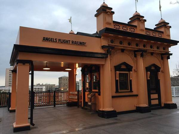 Los Angeles Poster featuring the photograph Los Angeles Angels Flight Railway Station by Cathy Reinking