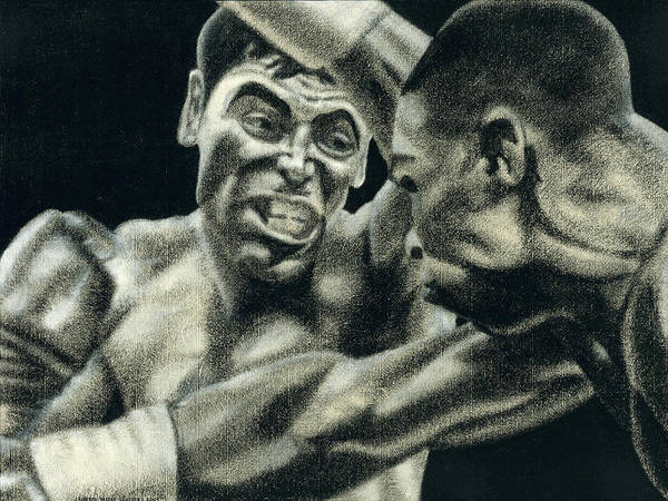 Boxing Poster featuring the drawing Los Guerreros by Roberto Valdes Sanchez
