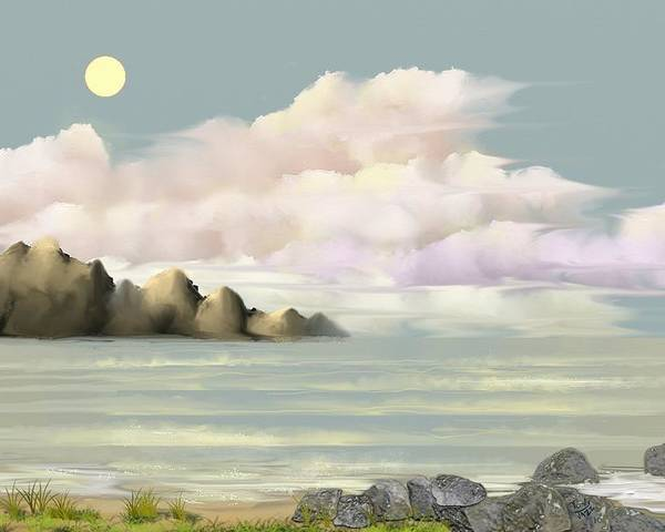 Seascape Poster featuring the digital art Lost Beach by Tony Rodriguez
