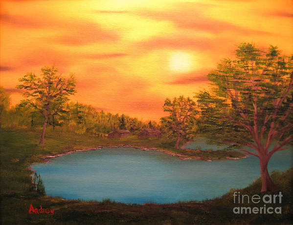 Landscape Poster featuring the painting Lost Lake by Todd Androy