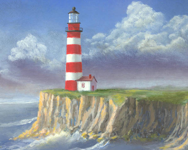 Light Poster featuring the painting Lost Point Light by Jerry McElroy