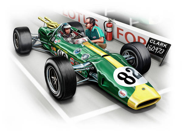 Automotive Poster featuring the digital art Lotus 38 Indy 500 Winner 1965 by David Kyte