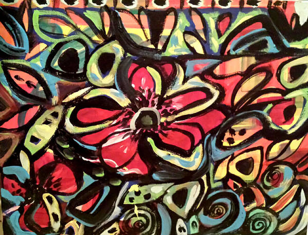 Abstract Poster featuring the painting Lotus Petals by Nikki Dalton