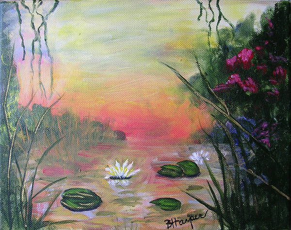 Lotus Poster featuring the painting Lotus Pond Fantasy by Barbara Harper