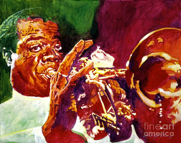 Louis Armstrong Poster featuring the painting Louis Armstrong Pops by David Lloyd Glover